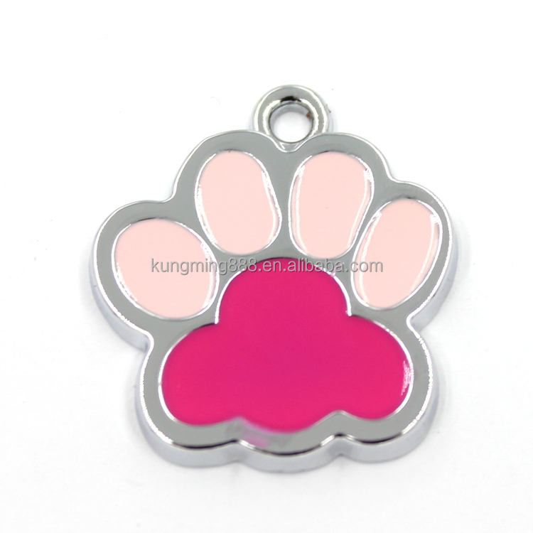 Silver Color Paw Shaped Enamel Charms Wholesale
