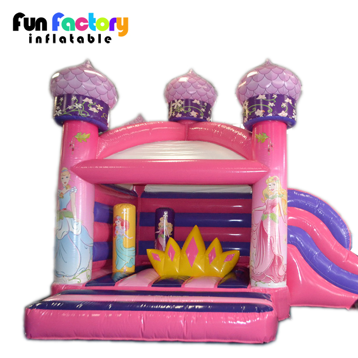pink inflatable princess bounce house jumping castle slide for kids