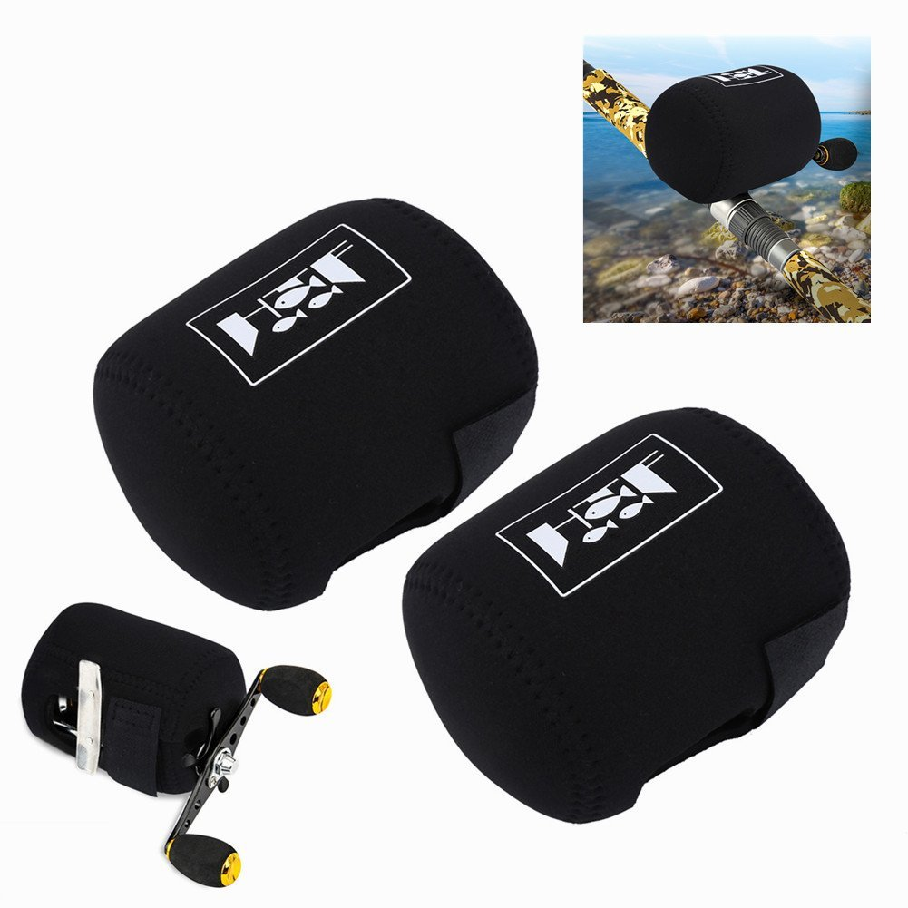2Pc Neoprene Fishing Reel Caver Bag 4000-5000 Spinning Reel Large Case Pouch