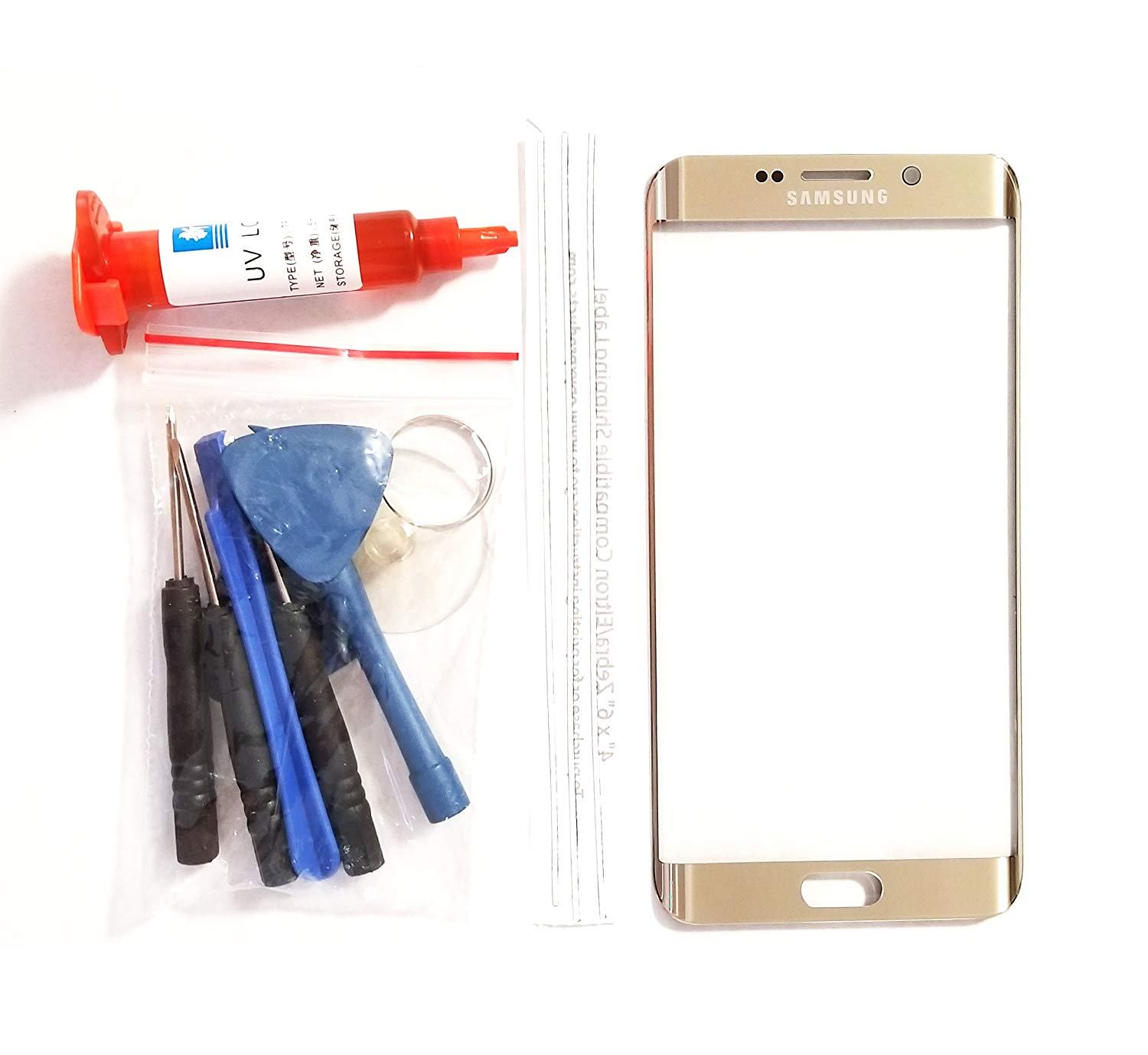 (md0410) OEM GOLD Front Outer Lens Glass Screen Replacement For Samsung Galaxy S6 EDGE PLUS G928 + Tools + 5ml UV LOCA Liquid Glue Adhesive (LCD and Digitizer not included)