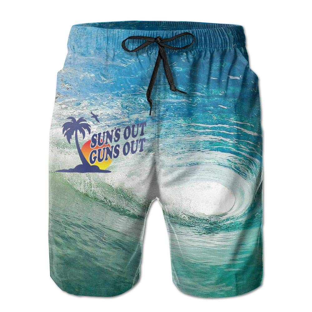b3d9039835 Get Quotations · GOWISD Men's Sun's Out Guns Out Casual Swim Trunks Quick  Dry Beach Shorts Surfing Running Swimming