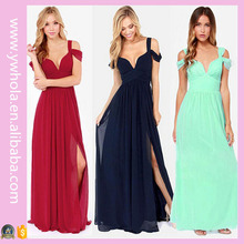 2016 New Design Dropship 3 Colors Tunic High Slit Long Evening Dress For Women
