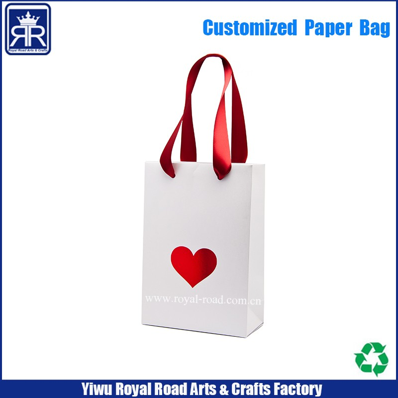 Red hot iron silver craft paper bag with drawstring handle