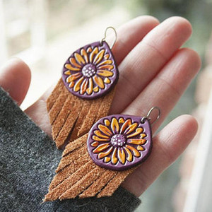 Daisy Tassel Leather Earrings Handmade Turquoise Hand Painted Leather Suede Jewelry Spring Sunshine Boho Earrings