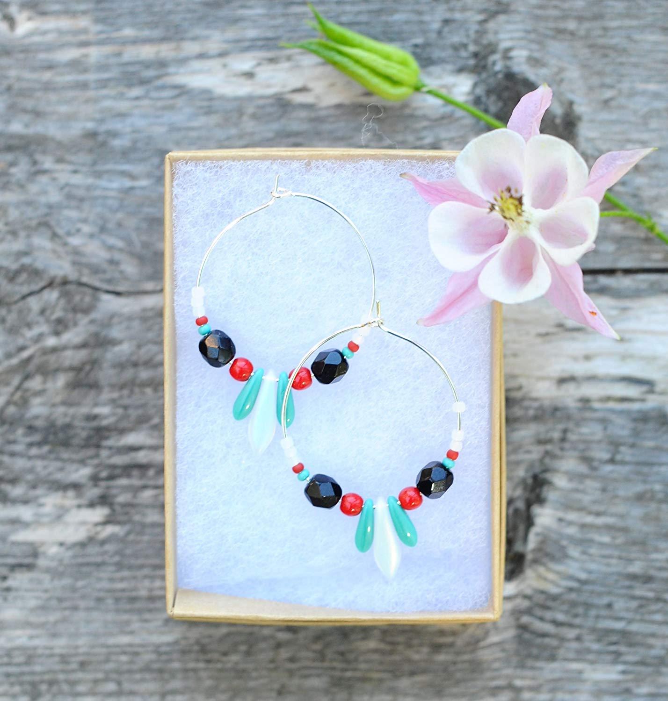 Beaded hoop earrings | Chandelier earrings | Boho earrings | Ethnic earrings | Boho jewelry | Beaded Jewelry | Glass beads