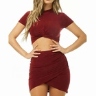 Two piece set sexy red party wear honeymoon night dress for women