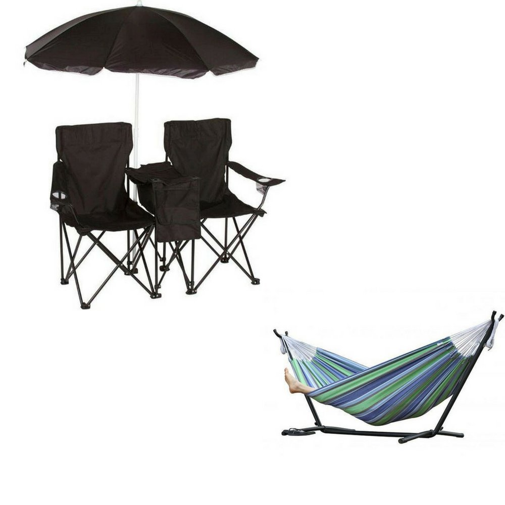 get quotations    black double folding camp  u0026 beach chair with removable umbrella and cooler with 9 foot cheap folding steel hammock stand find folding steel hammock      rh   guide alibaba