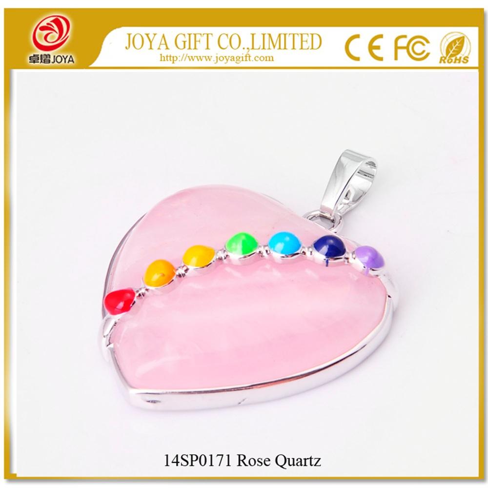 Hervorragend Gros naturel sept Chakra Rose Quartz pendentif coeur 14SP0171 avec  TB58