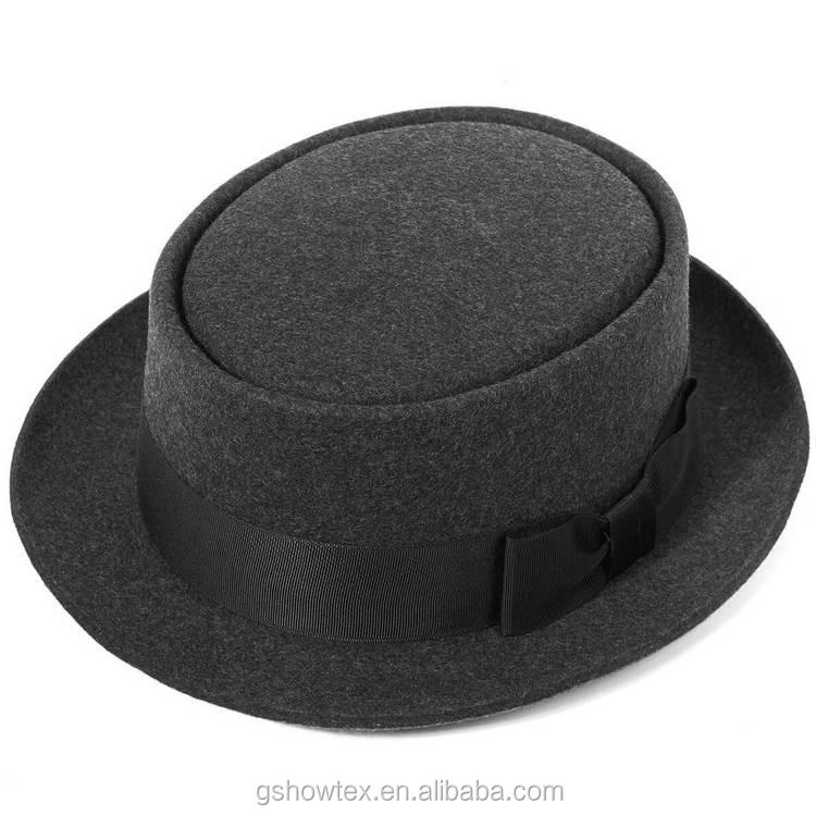 Sombrero de fieltro de lana en blanco al por mayor redondo de ala corta  porkpie barato 4fe4f050466