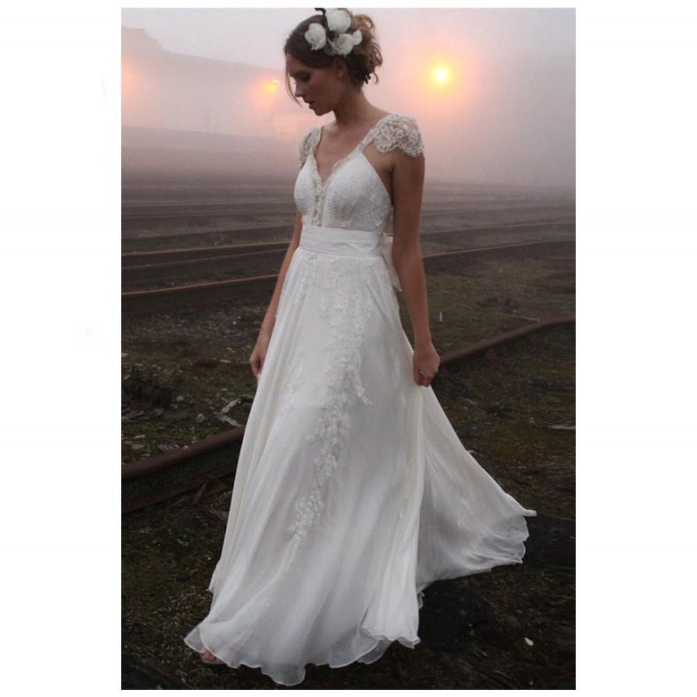 V Neck Lace Wedding Dresses: Delicate V Neck Lace Summer Wedding Dresses Sexy Backless