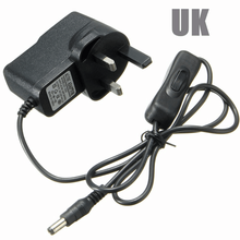 UK plug12v 0.5a 500ma 1a 1000ma Led cctv Power Supply <span class=keywords><strong>Adapter</strong></span> dengan Inline on off Beralih 5.5x2.1 dc kabel