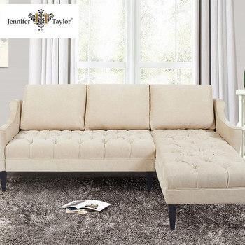 Home Furniture Fabric Sofa Design L Shaped Sectional Round Corner