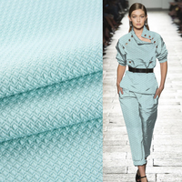 Teal jacquard fabric 50 cotton 50 polyester stretch furnishing fabrics