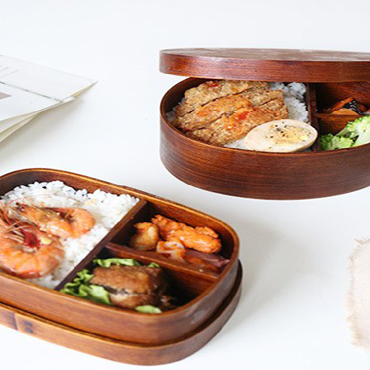 Japanese Style Wooden Bento Lunch Box For Food Fruit Sushi Bento Box Bowl Reusable Picnic Food Container
