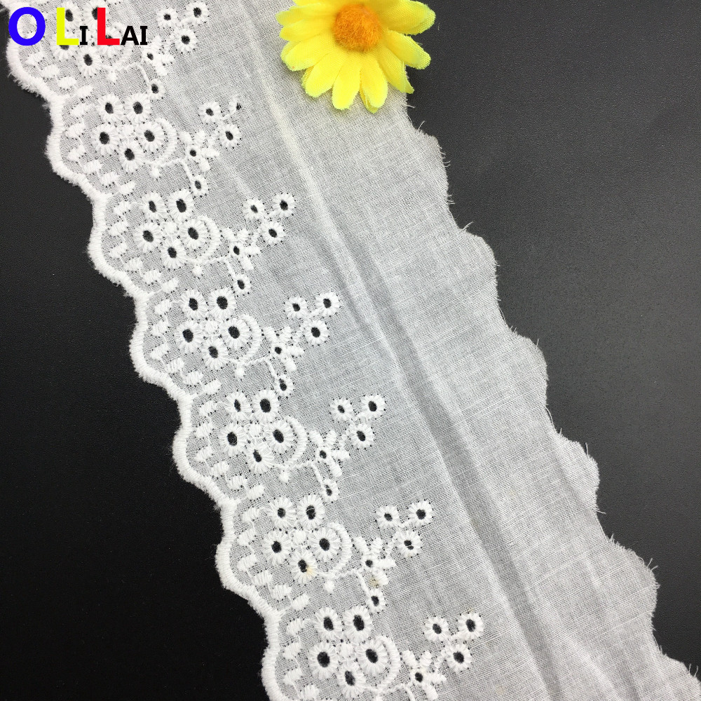 9CM OLT0239 Eyelet Knitting Cotton Lace Trimming For Decorative Dresses