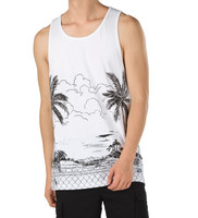 Full Print White Sleeveless T Shirt Tank Top Rugby