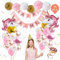 Easternhope Unicorn Balloons Birthday Party Decorations Favors Banner Heart Balloons Paper Poms Kids Theme Party Supplies