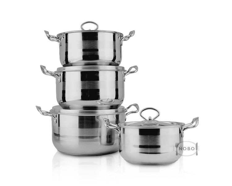 Hot sale casserole cooking pot 8-piece stainless steel cookware with customized