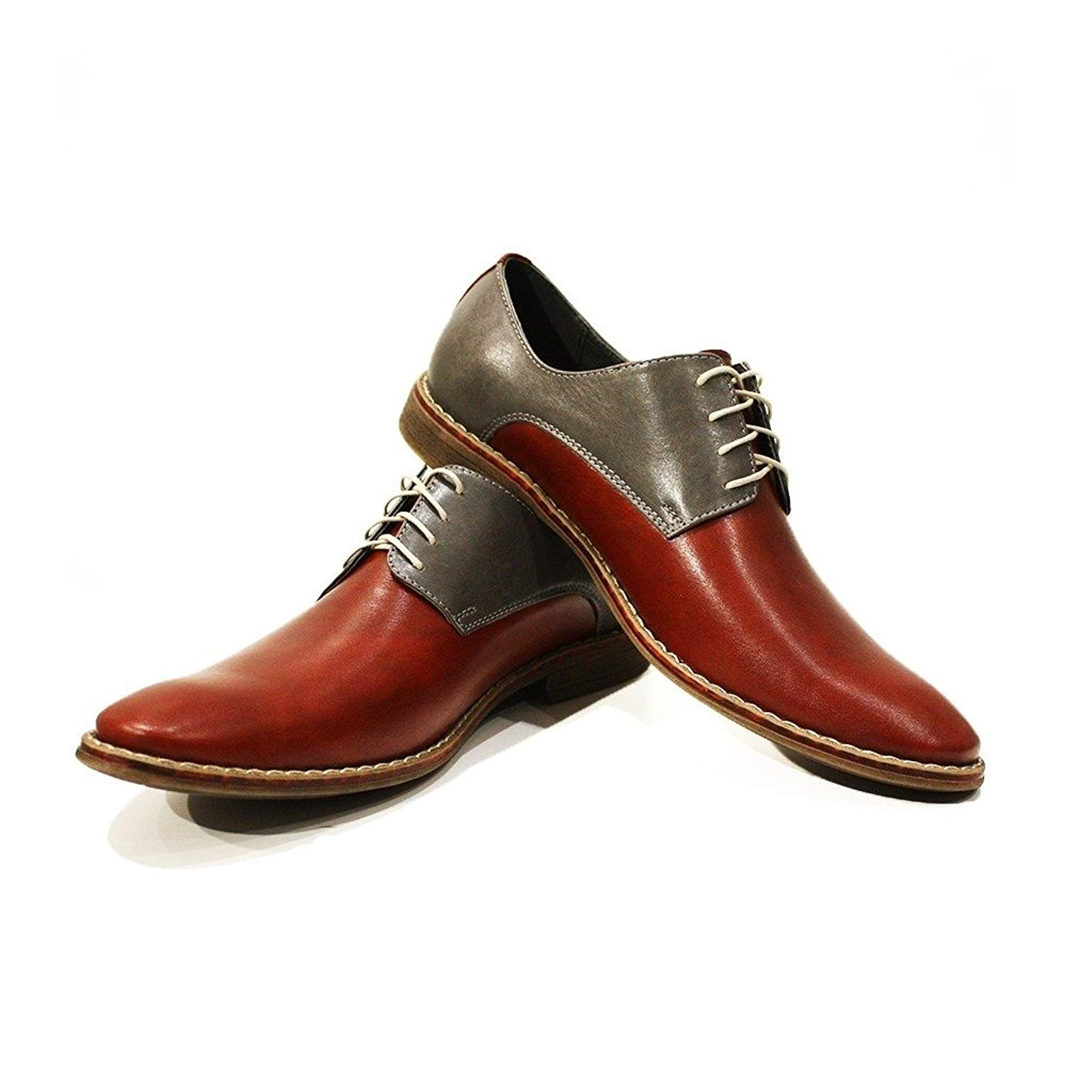 Modello Adriano - Handmade Italian Mens Red Oxfords Dress Shoes - Cowhide Smooth Leather - Lace-up