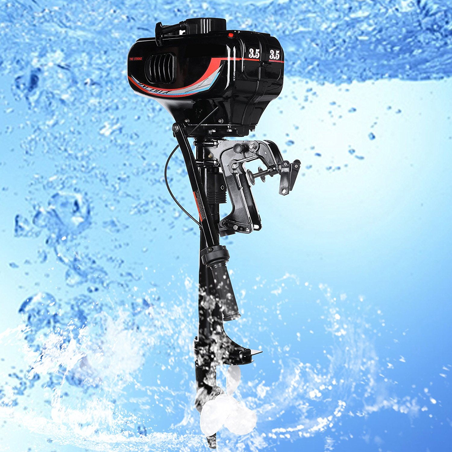 Fast 3.5HP Ship Outboard Trolling Motor Inflatable Fishing Boat Engine with 2-Stroke Water Cooled System Speed-20km/h (four people)