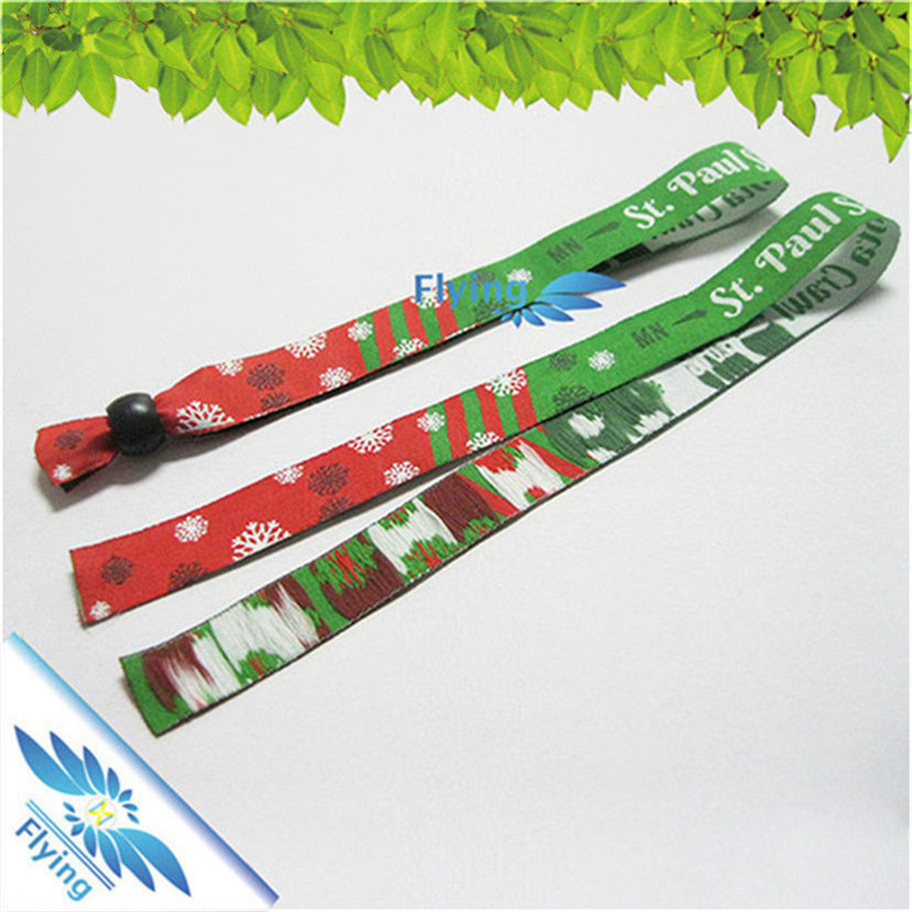 Custom Event Festival Woven Fabric Wristbands with plastic lock