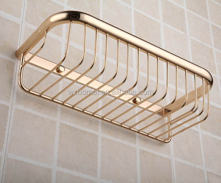 Gold Finishing Brass Bathroom Storage Rack, Metal Shower Basket, Bathroom  Storage Basket