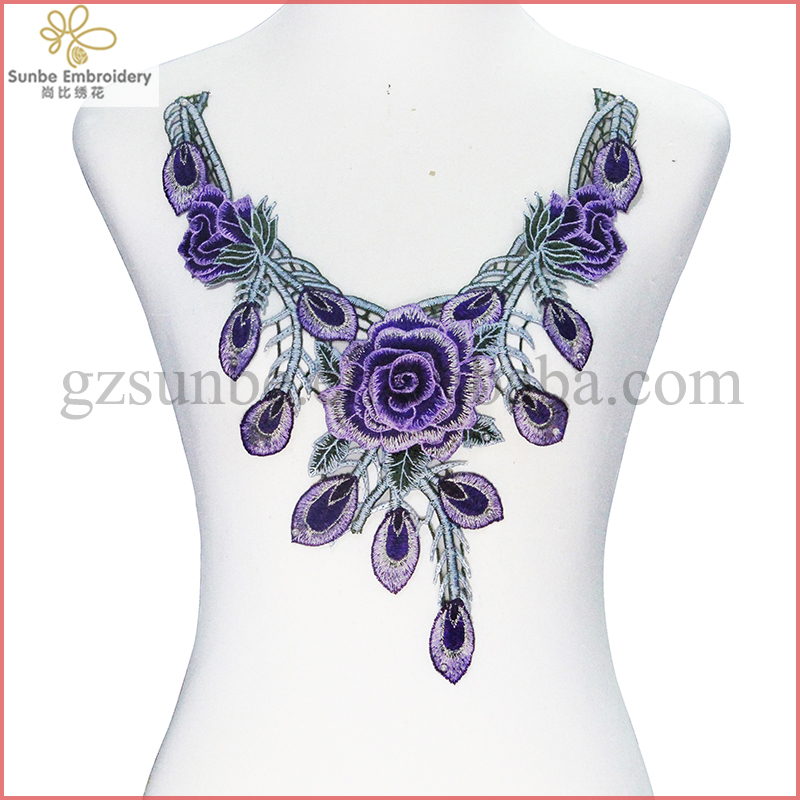 Purple Peacock Flower Applique Lace Fabric Embroidery Cord Neck Collar Clothes Decoarted Sewing Supplies can be customized