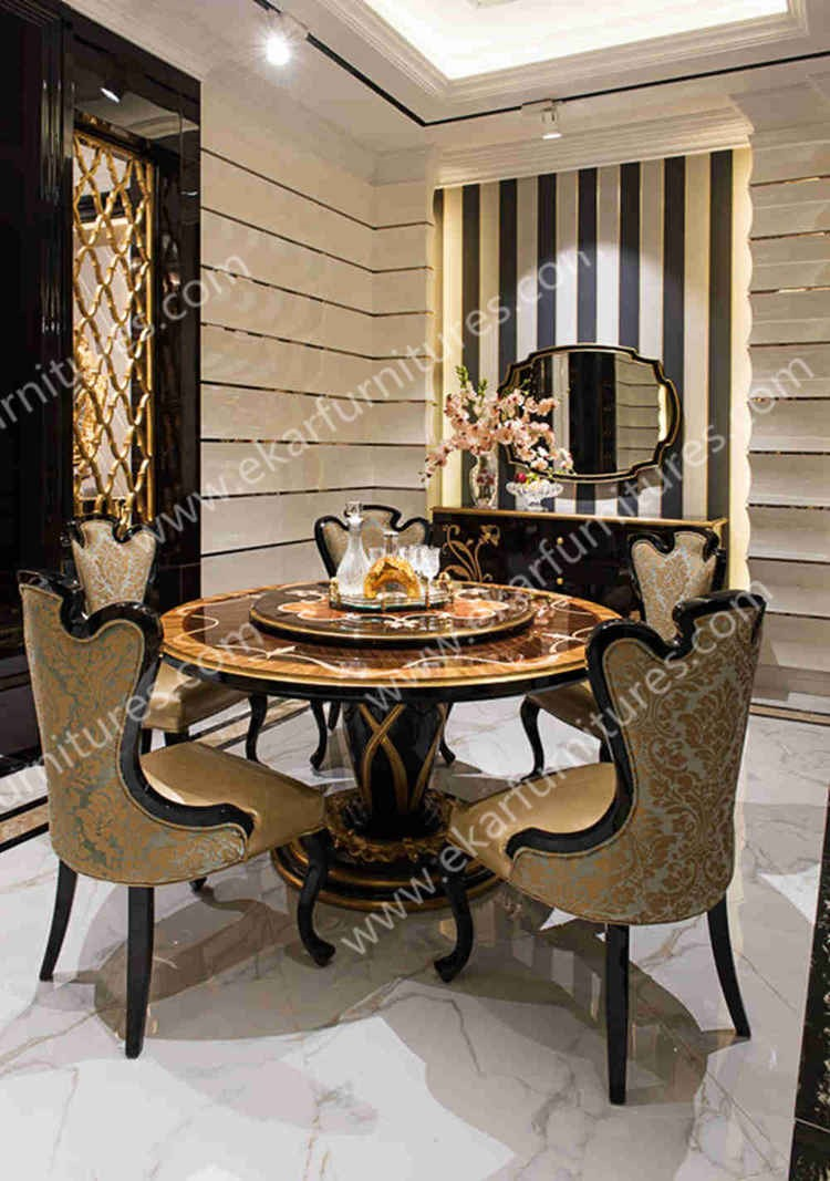 Antique wooden round rotating dining table buy round for Rotating dining table