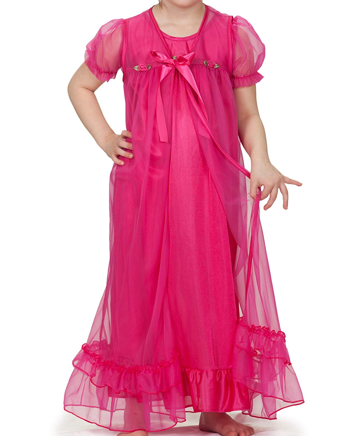 fa3d89d805 Laura Dare Big Girls Short Sleeve Peignoir Nightgown Robe Set w Scrunchie