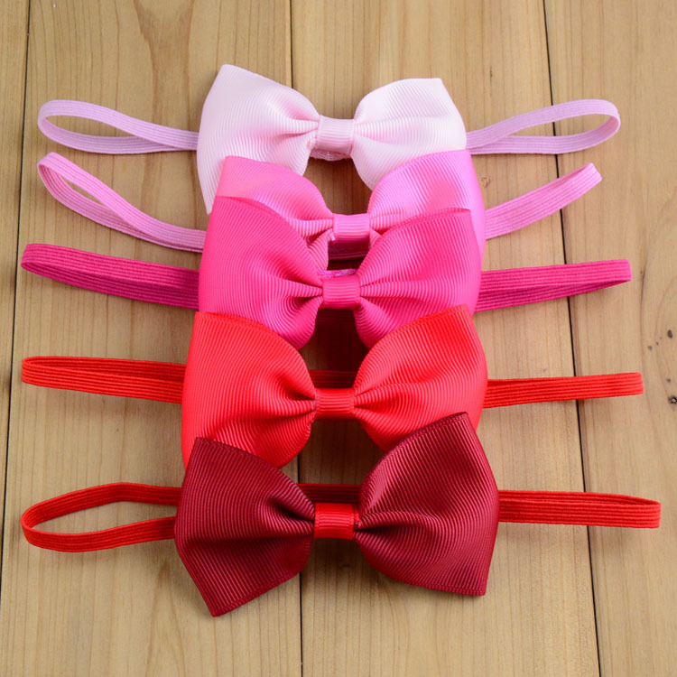 New mixed colors baby small ribbon bow with thin elastic headband girl bow  hairband children hair a5a8a9324bd