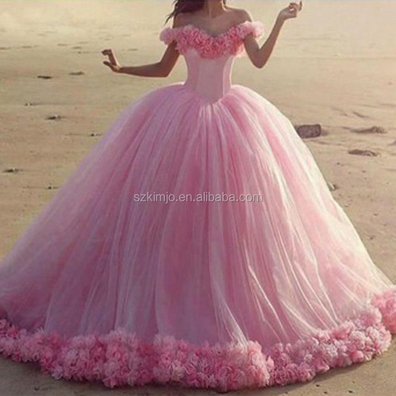 Saudi Arabic Wedding Ball Gown Off Shoulder Floral Princess Wedding ...