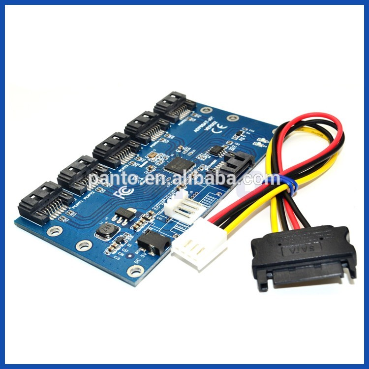 SATA 1 Adapter Card to 5 Port Converter SATA Port Multiplier Riser card Hub