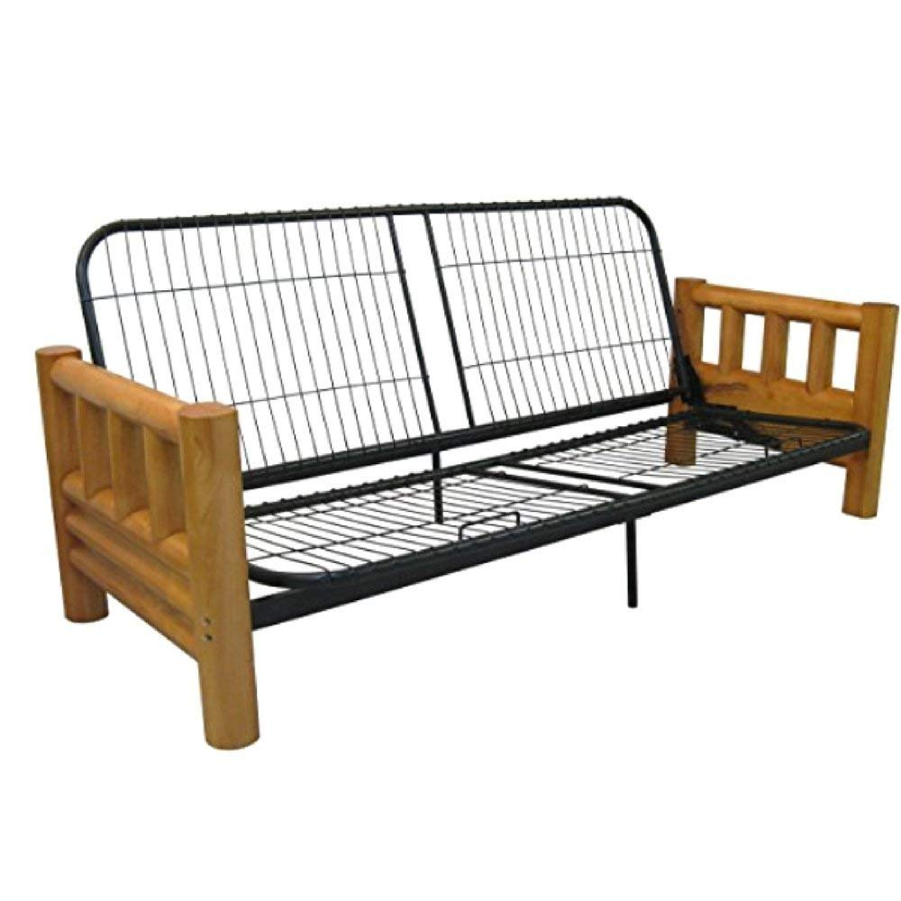 Solid Wood Arm Metal Futon Frame Full Size Cabin Look White Cedar No Plywood Or Veneers Black Steel Alloy Grid Style Seat -MegaTrade Prime