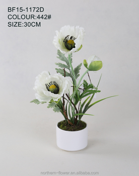 3 stem flowers white artificial poppy in ceramic pot for home deco 3 stem flowers white artificial poppy in ceramic pot for home deco mightylinksfo