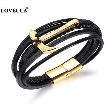 Ph1255 New Engraved Leather Gold Anchor Bracelets For Men Cool Mens Genuine Bracelet