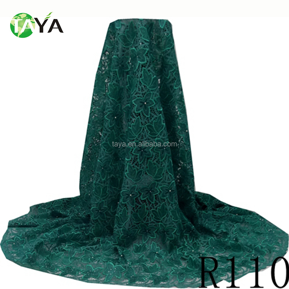 fancy R110-TEAR GREEN gorgeous organza embroidery lace organza fabric