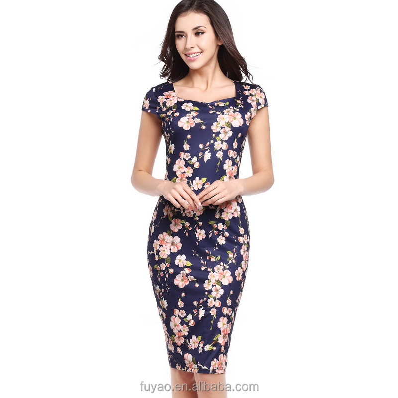 29e10e4424a 2018 New Elegant floral dress women Feather Bodycon Pencil Sexy Print  Summer Dress Women Casual Dresses Plus size Vestidos