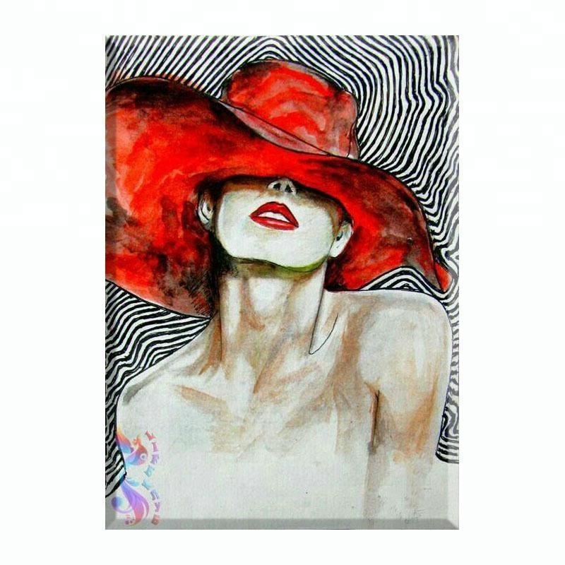 Beautiful attractive red hat sexy girl oil painting for home decoration