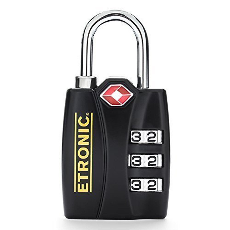 ETRONIC T6 TSA-Approved Lock TSA Open Alert Indicator Resettable Combination TSA-Accepted Luggage Lock, 1-3/16in (30mm) Wide