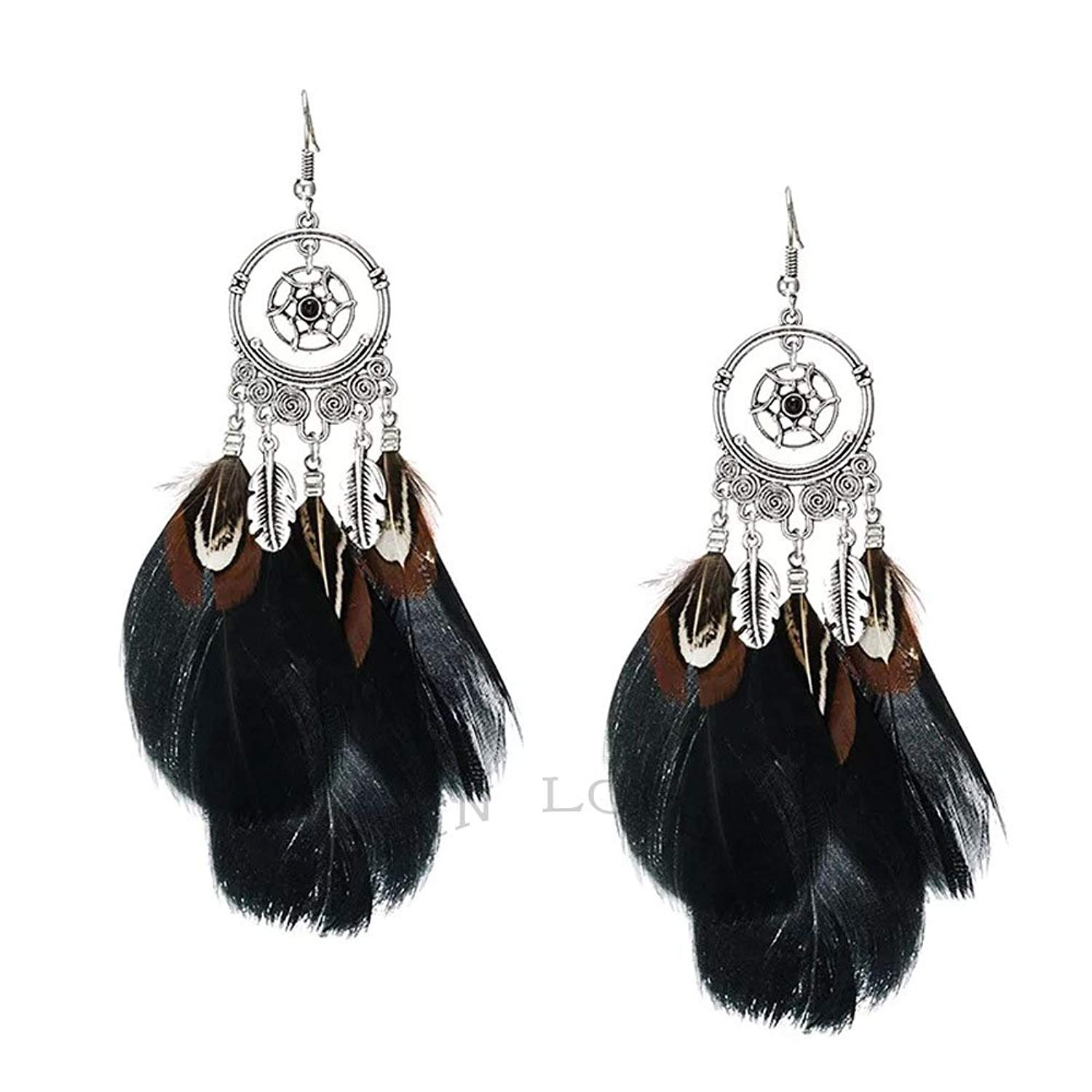 Get Quotations Indian Feathers Retro Style Alloy Hollow Out Sculpture Fluffy Feather Pendant Earrings