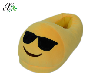Hot Selling 100% cotton Emoji Funny Plush Slippers /Cheap Plush Slippers