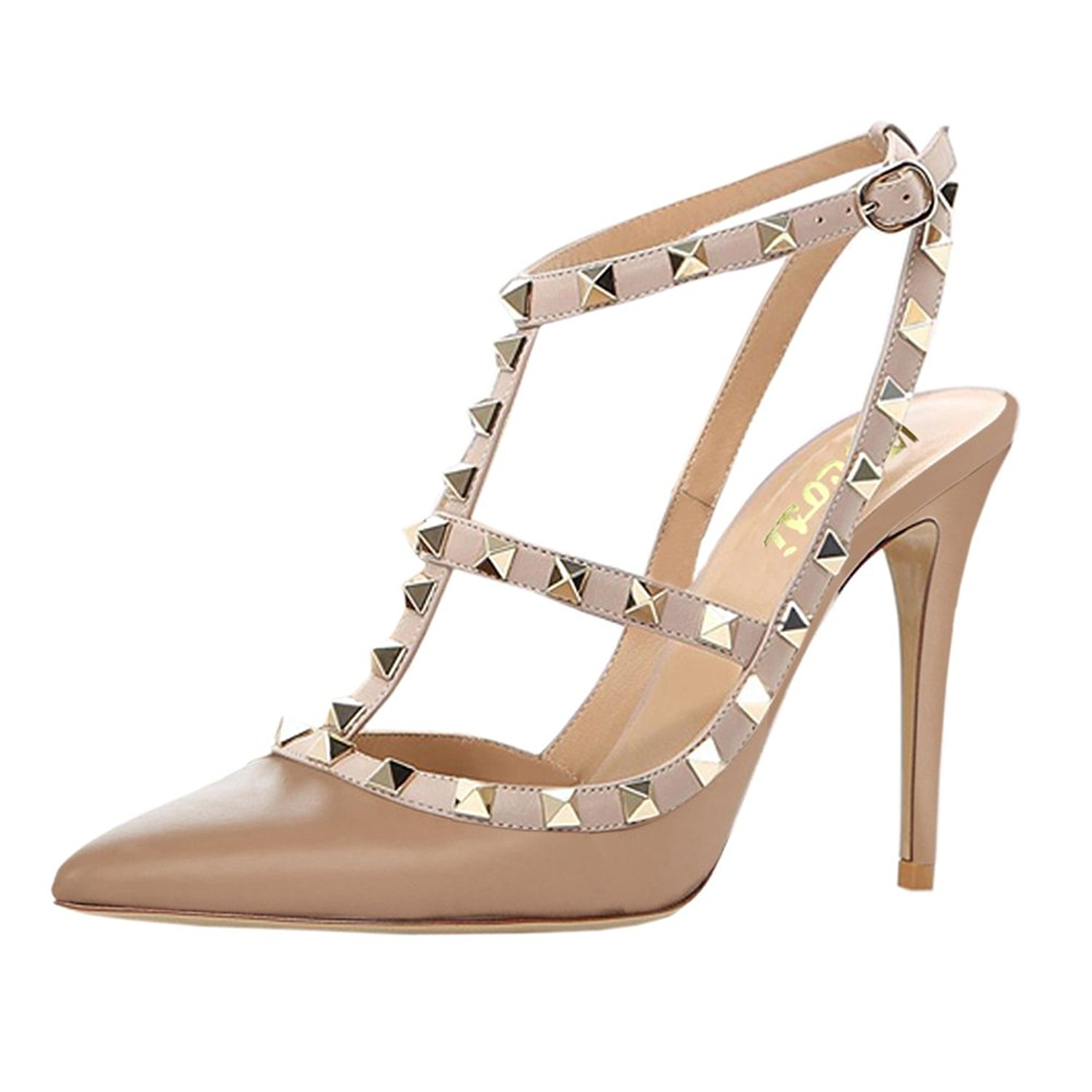 52b768099025 Get Quotations · VOCOSI Women s Pointed Toe Studded Ankle Strap Slingback  Stiletto Heels Dress Party Wedding Rivets Sandals