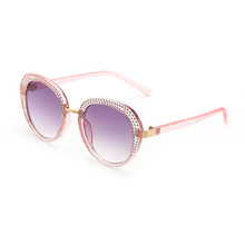 FONHCOO Cheap Custom Logo Pink Round Frame Plastic Ladies Sunglasses