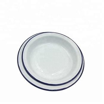 fabbec21bd2 Popular Dinnerware Round White Enamel Dishes With Blue Rim - Buy ...