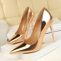 SS0037 Silver high heel shoes women 2019 latest spring ladies golden pump shoes
