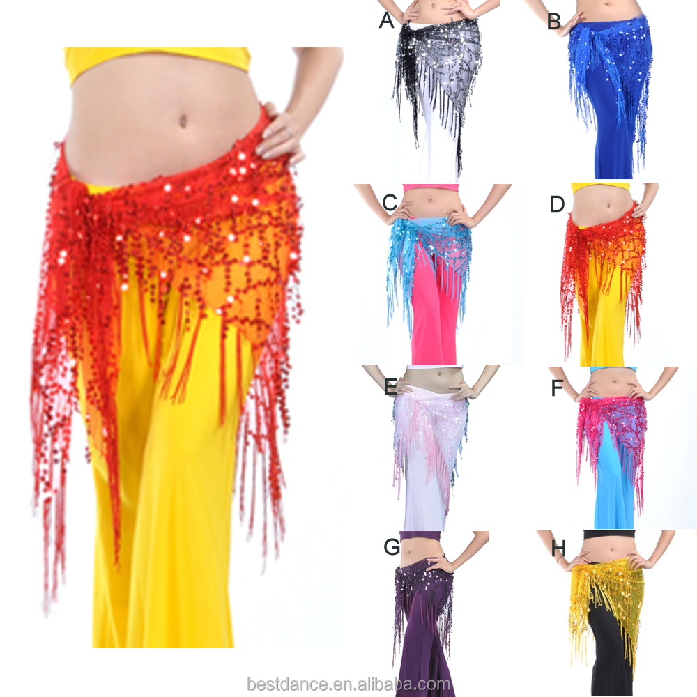 New Belly Dance Costume Hip Scarf Belt Sequins/&colorful Coins triangle Hip Skirt