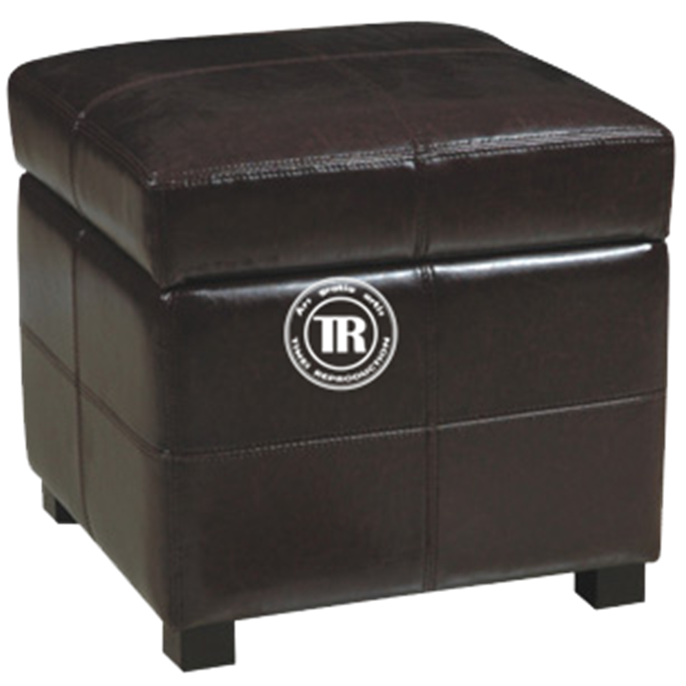 Black Square Leather Multifunctional Storage Ottoman Bench,Wood leg Leather Stool , Foldable Stool with cushion