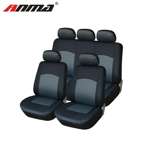 ANMA Genuine Leather Car Seat Cover Set Front & Rear complete with headrest Covers Black