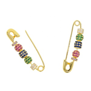 Floating moving colorful disco beads unique gold color beaded safety pin earring