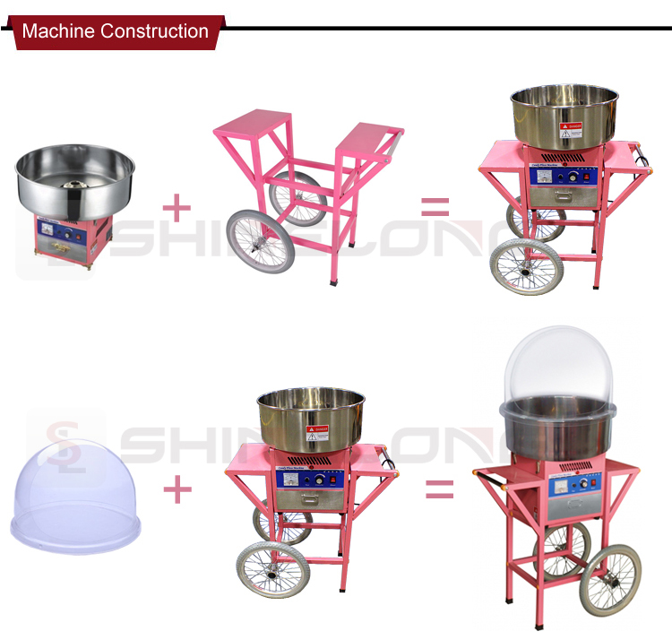 FSECC-0505B Professional Out Door Mobile Cotton Candy Floss Machine Commerical Snack Equipment